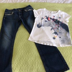 Bundle Girls 1 Pair Of Jeans And 1 T Shirt Size 12